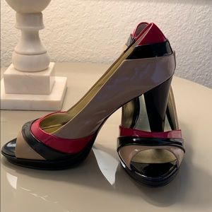 Anne Klein Peep Toe Pumps Black, Tan, Red